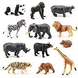 Volnau Mini Safari Animal Toys 12PCS Wild Animal Figurines Miniature for Toddlers Kids Christmas Birthday Plastic Animal Figures Preschool Pack