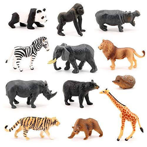 Mini Safari Animal Toys VOLNAU 12PCS Wild Animal Figurines Miniature for Toddlers Kids Christmas Birthday Plastic Animal Figures Preschool Pack
