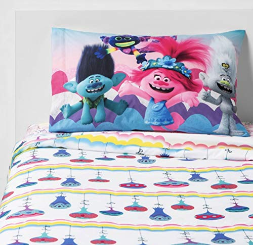 Franco Manufacturing Trolls World Tour Color Your World Twin Sheet Set - 1 Fitted Sheet, 1 Flat Sheet, and 1 Standard Size Pillowcase - Super Soft Made of 100% Polyester - Trolls Twin Sheet Set