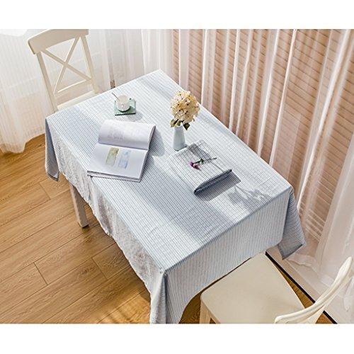 Nappe de couleur unie tissu coton coton et lin petit frais rectangulaire table de table linge de table campagne chiffon creux (Color : Blue, Size : 140 * 200cm)