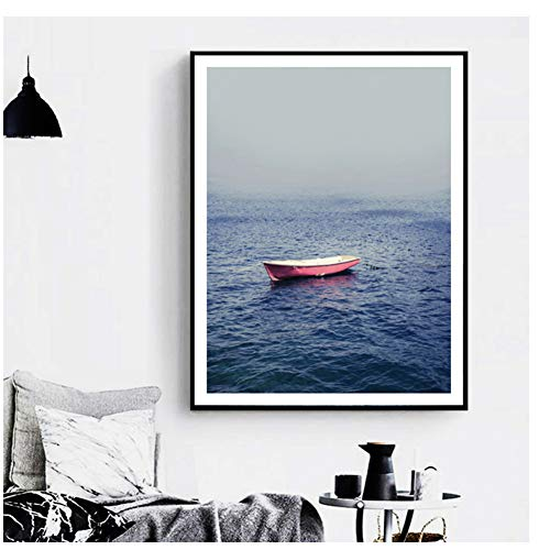 Pink Sea Boat Landscape Posters And Prints Wall Art Canvas Prints Pop Art Pictures Nordic Style Decor60X80cm zonder lijst
