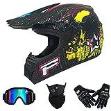 Casco Integral Completo Motocicletas de Motocross Dot Certified Rally MX ATV MTB Pit Bike DH Racing Casco Protector con Gafas Máscara Guantes Adulto (Sprint Negro Mate),54~56cm M