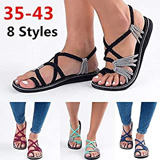 Summer Women Fashion Flip-Flops Slippers Bandage Flat Shoe Casual Beach Slippers Plus Size(Blue,43)
