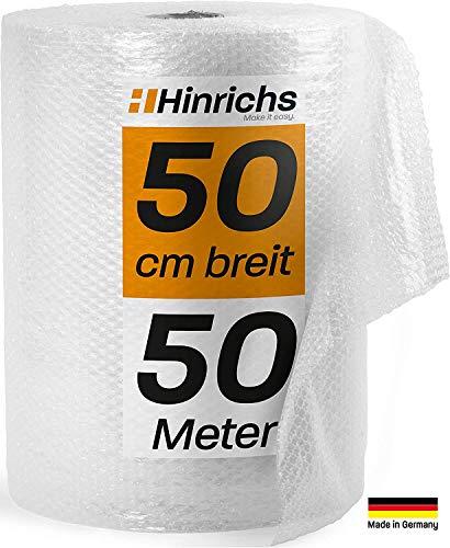 Hinrichs 4x Luftpolsterfolie 50m - Bubble Wrap zum Verpacken - Verpackungsmaterial für empfindliche Objekte - Noppenfolie - Polstermaterial für Umzug und Versand