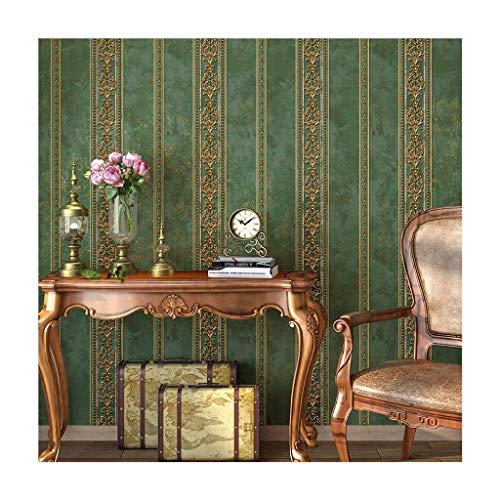JLWM Tapete Barock- Amerikanisch 3D Linderung Nicht Gewebt Pastoral Europäischer Stil Luxuriös Vintage-Grün A-0.53x10m
