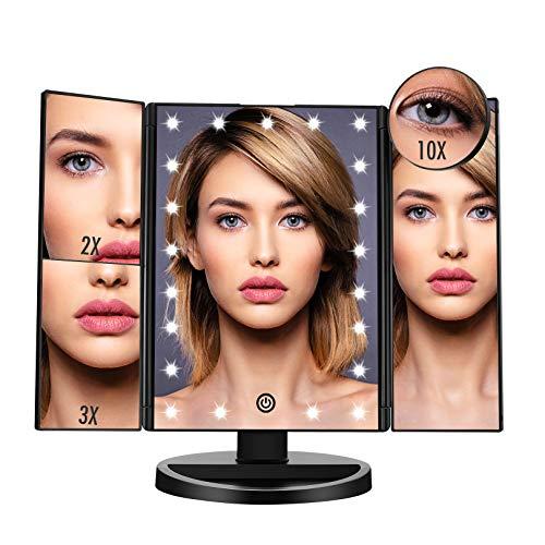 FASCINATE Specchio per Trucco Illuminato con 21 LED Luci Specchio Trucco Ingranditore 10x 3X 2X 1x Rotazione 180° Touch Screen Pieghevole Specchio Make up