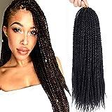 "Crochet Braids Senegalese Twist Crochet Hair 8 Packs 18 Inch Small Twist Hair Crochet Braids Pre Looped Mini Twist Crotchet Hair Synthetic Braiding Hair For Black Women(18"", 1B#)"