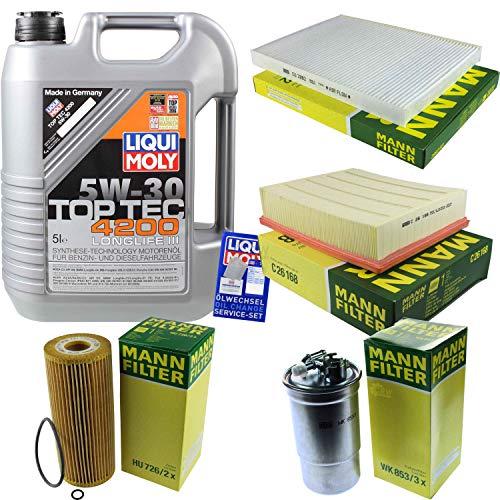Filter Set Inspektionspaket 5 Liter Liqui Moly Motoröl Top Tec 4200 5W-30 MANN-FILTER Innenraumfilter Kraftstofffilter Luftfilter Ölfilter