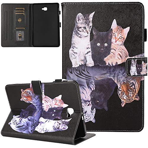 Galaxy Tab A 10.1 Case 2016 Old Model, T580 Case, JZCreater PU Leather Stand Wallet Case, Auto Sleep/Wake Smart Cover for Galaxy Tab A 10.1' Tablet SM-T580 T585 T587 (NO S Pen Version),3 Cats