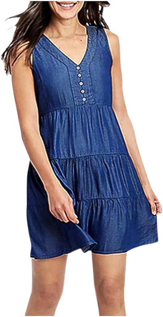 Free shipping Womens Sleeveless Jean Dress V Boyfriend Blue Neck Shirts Sacramento Mall Denim