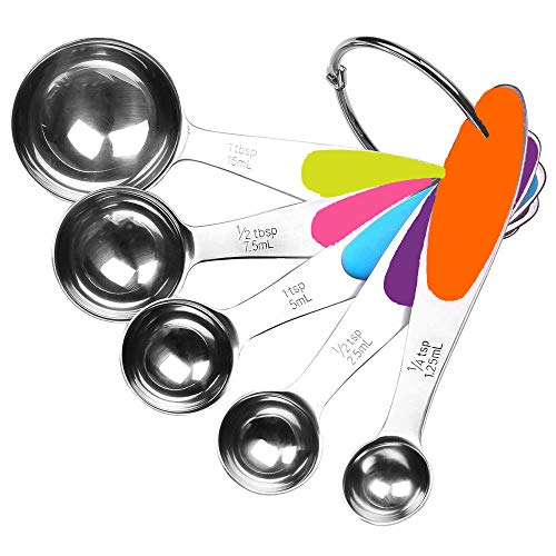 Fsdifly-Stainless Steel Measuring Spoons 5 Piece Stackable Set