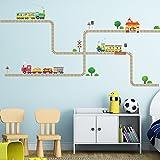 DECOWALL DW-1504 Trenes y Pistas Vinilo Pegatinas Decorativas Adhesiva Pared Dormitorio Salón Guardería Habitación Infantiles Niños Bebés