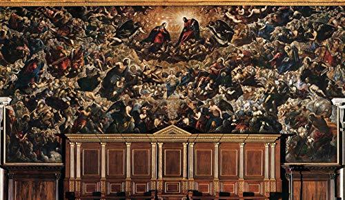 """Jacopo Tintoretto Palazzo Ducale Sala del Maggior Consiglio - Paradise 1590 Palazzo Ducale di Venezia 30"""" x 17"""" Fine Art Giclee Canvas Print (Unframed) Reproduction"""