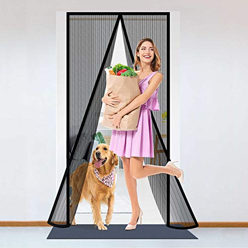 """Delxo Screen Door ,39""""W x 82""""H Magnet Screen Door Curtain with 32 Super Tight Self Closing Magnetic Seal and Full Frame Hook & Loop, Durable Polyester Mesh Curtain Door Net Screen with Magnet Black"""