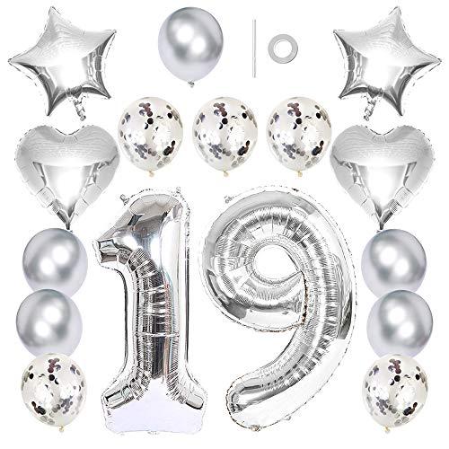 Ceqiny Globo 40' número 19 globo 18' forma corazón y estrella globo látex lentejuelas 12 pulgadas para fiesta de cumpleaños boda...
