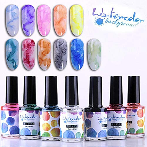 12 Farben Set 15 ml Aquarell Tinte Nagellack blühende Gel Rauch Marmor Effekt Fleck Blase DIY Lack Maniküre Dekor Nail Art Salon