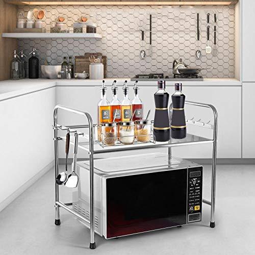 Küchenregal, 2 Schichten Mikrowelle Regal aus Edelstahl, Praktisch Gewürzregal mit 8 Haken, 58 x 36 x 51.5cm