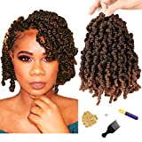 7 Packs Curly Spring Twist Crochet hair 10 Inch Pre-looped Bomb Twist Braiding Kinky Ombre Colors Twist Crochet Braids Hair Extensions(15 strands/pack T1B/30)