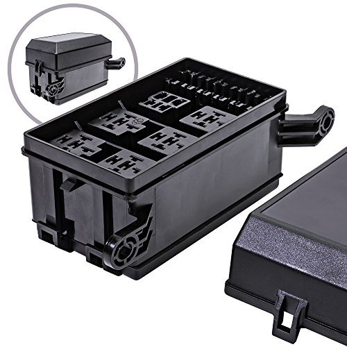 ONLINE LED STORE 12-Slot Relay Box [6 Relays] [6 Blade Fuses] [Bosch Style Relays] [Easy Installation] [OEM Factory Look] - Fuse Relay Box for Automotive and Marine Use