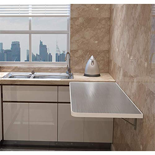ZWXXQ Mesa de Pared de Cocina Mesa de Comedor Resistente a aranazos Encimera de Acero Inoxidable 100 kg de Carga Estable para el hogar, Mesa de Estudio multifuncional-60x30cm/24x12in