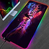 Mouse Pads Cs Go Shooting Gaming RGB Mouse Pad with 14 Lighting Modes, Non-Slip Rubber Base Mousepad, Wear-Resistant Water-Proof Premium-Textured Mouse Mat for Laptop, Computer & PC 400x800mm
