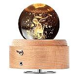 DUTISON Caja de música con bola de cristal de, caja de música de madera giratoria de 360 ° con luz, regalo para Navidad, Acción de Gracias, cumpleaños, Día de San Valentín