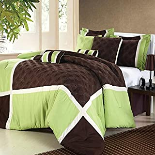 Chic Home Quincy Green Comforter Bed In A Bag Set with Sheet Set - Queen 12 Piece