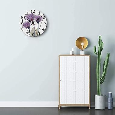 Britimes Round Wall Clock, Silent Non Ticking Clock 10 Inch, Decor for Bathroom, Bedroom, Kitchen, Office or School Purple Tu