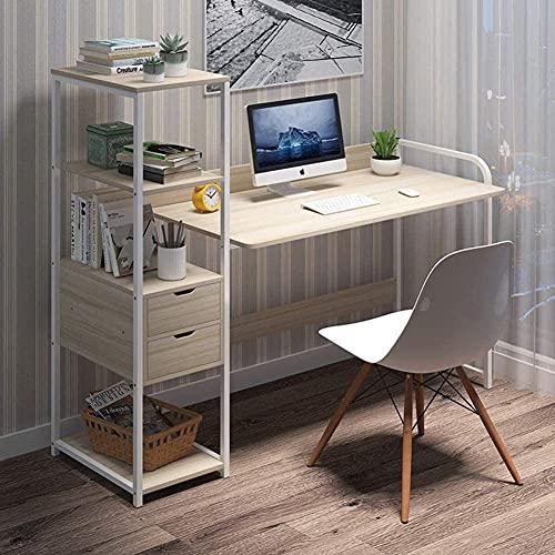 Escritorio Multifuncional para computadora, Marco de Acero, Mesa de Oficina en casa con cajón, Escritorio para PC con estantes de Almacenamiento de Bricolaje de 4 Niveles, Madera de Cerezo de Arce, b