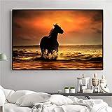 BailongXiao Leinwandmalerei Pferd Wandkunst Bild Pferd