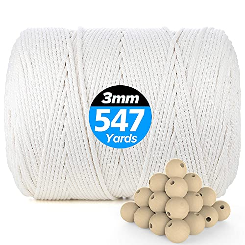 VENROII Macrame Cord 3mm x 547Yards, 100% Natural Cotton Macrame Craft Rope, 4 Strand Twisted Soft Cotton Cord for Handmade Wall Hanging, Dream Catcher, Plant Hangers, Knitting, Craft Cord