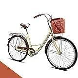 【US Spot】26 Inch Single Speed Beach Cruiser Bike for Adults, Teens, Womens Beach Cruiser Bike Classic Iron Bicycle with Basket Retro Bicycle Art Deco Scooter,Road Bike Seaside Travel Bicycle (#1 Sale)