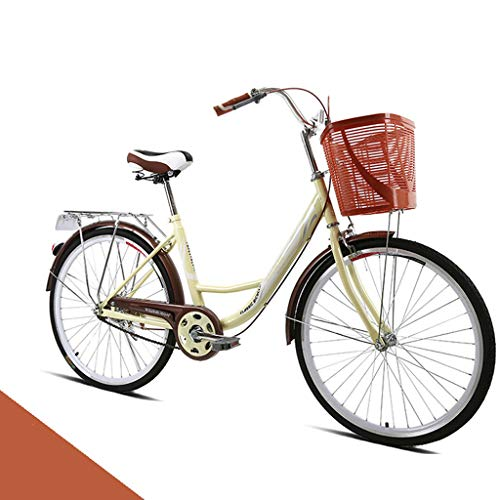 26-Inch Womens Comfort Bikes Beach Cruiser Bike, Single Speed Bicycle Comfortable Commuter Bicycle High-Carbon Steel Frame, Front Basket & Bell, Rear Racks Retro Bicycle Road Bikes