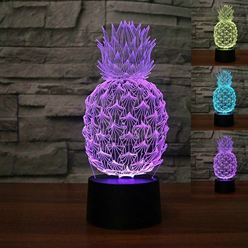 Jinson well 3D ananas Nachtlicht Lampe optische Nacht licht Illusion 7 Farbwechsel Touch Switch Tisch Schreibtisch Dekoration Lampen mit Acryl Flat ABS Base USB Spielzeug