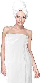 HOME & LOUNGE Spa Bath Shower Wrap for Women Robe Gyms 100% Cotton Terry Velour (White)