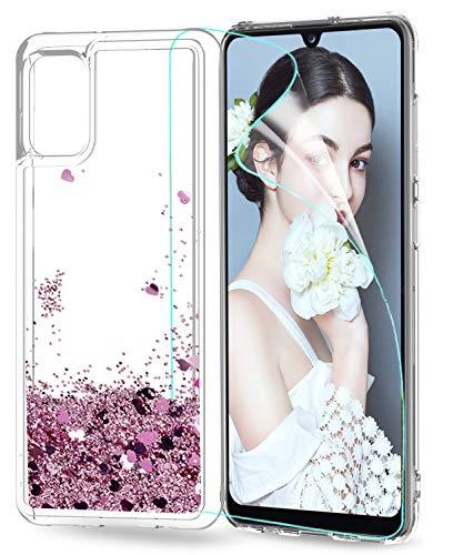 LeYi für Samsung Galaxy A31 Hülle Glitzer Handyhülle mit HD Folie Schutzfolie,Cover TPU Bumper Silikon Clear Schutzhülle für Hülle Samsung Galaxy A31 Handy Hüllen ZX Rosegold
