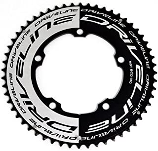 Driveline AL7075 Road Bike Bicycle TT Chainring 56T, BCD 130mm, Black and White, ST1351