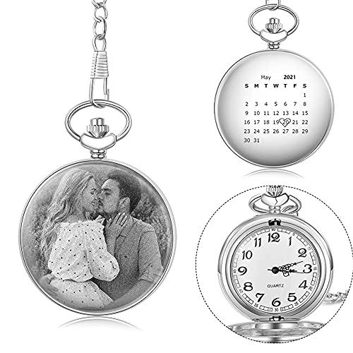 Kaululu Reloj de Bolsillo Personalizado con Foto Grabado Fecha de Cuarzo Antiguo Liso con Cadena de Acero Plata para Hombres Mujeres Regalo para Día del Padre