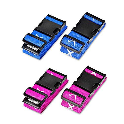 Gepäckgurt, Solawill 4 Stück Koffergurt Einstellbare Kofferband Travel Accessories Kofferband Gepäckband zum Sicheren Verschließen der...
