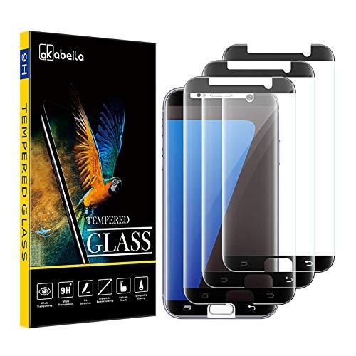 AKABEILA Cristal Templado Compatible para Samasung S7 Edge Protector de Pantalla para Galaxy S7 Edge [3 Piezas] [Curvo Cobertura Completa] HD Sin Burbujas [9H Dureza] Vidrio Protector Pantalla, Negro