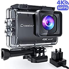 Crosstour CT9500 Echte 4K/50fps Action Cam Onderwater Camera (4K 20MP WiFi Onderwater 40M Waterproof Anti-Shake Helm Camera 2 1350mAh batterijen)*