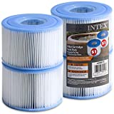 Intex Spa Filter Cartridges [Set of 4] Intex S1 Twin Pack For Intex Spa Filter Pumps - Bundled with (2) Oil Absorbing Sponges.