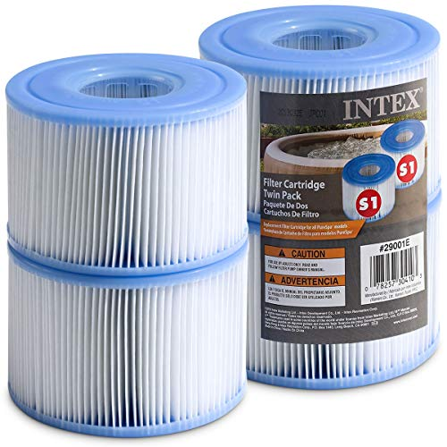Intex Spa Filter Cartridges - Intex S1 Twin Pack For Intex Spa Filter Pumps set of 4 - Bundled with (2) SEWANTA Oil Absorbing Sponges.