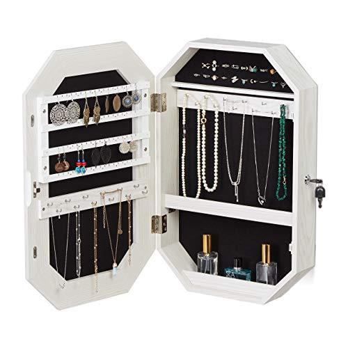 Relaxdays Schmuckschrank mit Spiegel, hängend, abschließbar, Schmuckspiegel für Wandmontage, HBT: 57,5x37,5x10cm, weiß