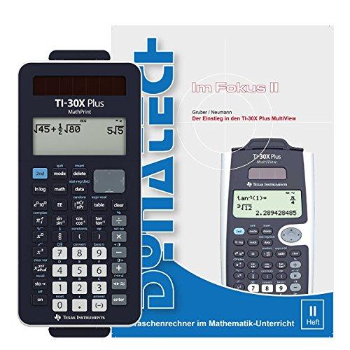 TI-30 X Plus - Taschenrechner MathPrint Bundle wissenschaftlicher Rechner Schulrechner LC Display für Schule Uni Büro Solar + Das Buch zum Rechner