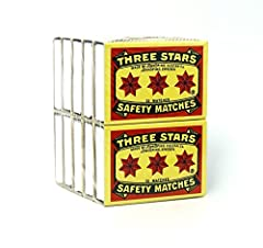 Famous Three Stars Safety Matches Brand 2 Strikes Per Box; Strike-On-Box Pocket Matches Made in Sweden 32 Sticks (1.75 inches matches) Per Box 1 Pack of 10 Small Boxes Each