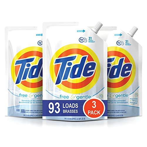 Tide Smart Pouch Free & Gentle HE Flüssigwaschmittel, Packung mit 3 Beuteln, 93 Waschladungen