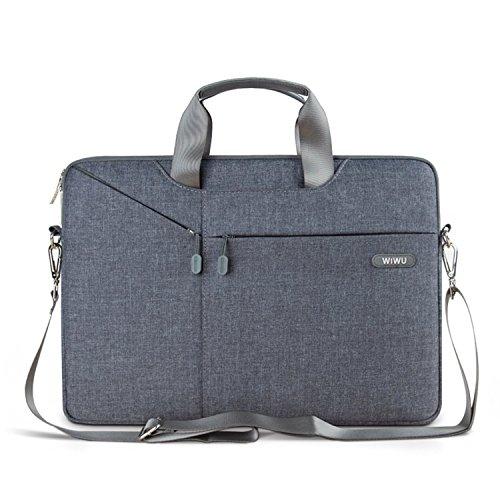 WIWU Tablet Tasche, 15-15.6 Zoll Schultertasche, wasserdichte Nylon Laptop Tasche Aktentasche (Grau, 15 Zoll)