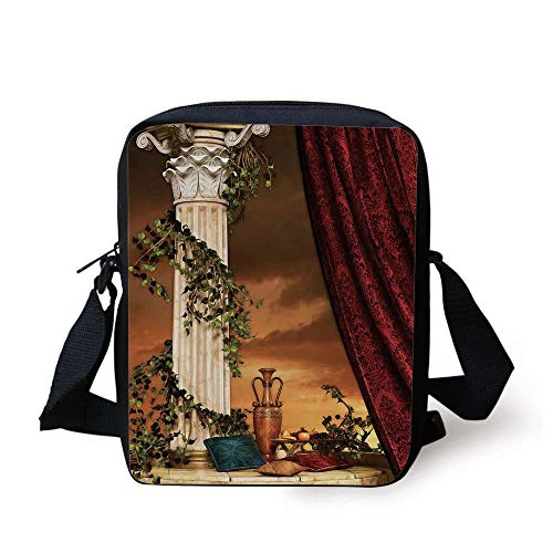 Gothic,Greek Style Scene Climber Pillow Fruits Vine and Red Curtain Ancient Figure Sunset Decorative,Multicolor Print Kids Crossbody Messenger Bag Purse