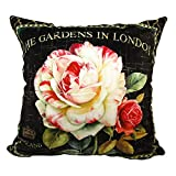whooplaArt Elegant Velvet Floral Pillow Cover Double Sides Handmake Big Size Flower Pillowcases Home Deocr (LC-847, 24X24)